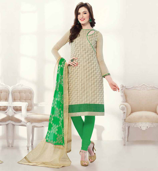 SIMPLE SALWAR KAMEEZ BUY ONLINE IN INDIA LOVELY BEIGE ZIG-ZAG PATTERN TOP WITH CONTRAST GREEN SALWAR AND STYLISH DUPATTA