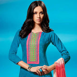 ALLURING BLUE SELF PRINTED AND EMBROIDRED SALWAR SUIT WITH DUPATTA