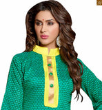 Decent looking kameez neck designs of stylish new salwar suit for ladies wear in india green chanderi-cotton abstract printed salwar kameez with border work and yellow cotton bottom Photo