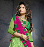 SOFT NET LEHANGA WITH GREEN VELVET CHOLI & DARK PINK SOFT NET LACE WORK DUPATTA