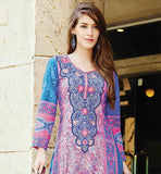 DESIGNER BLUE AND PINK PURE COTTON KAMEEZ WITH CONTRAST SALWAR AND EXCITING DUPATTA SUPERB SILVER COLOR EMBROIDERY PATCH ON NECKLINE