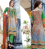 COTTON SALWAR KAMEEZ ONLINE SHOPPING IN INDIA SMART GREY AND GREEN COLOR COMBINATION SALWAR SUIT WITH DUPATTA