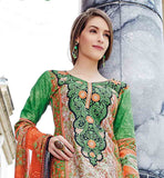 SMART GREY AND GREEN COLOR COMBINATION SALWAR SUIT WITH DUPATTA ENRICHED WITH EMBROIDERY PATCH WORK AT NECK LINE AND PRINT ON ALL OVER THE TOP