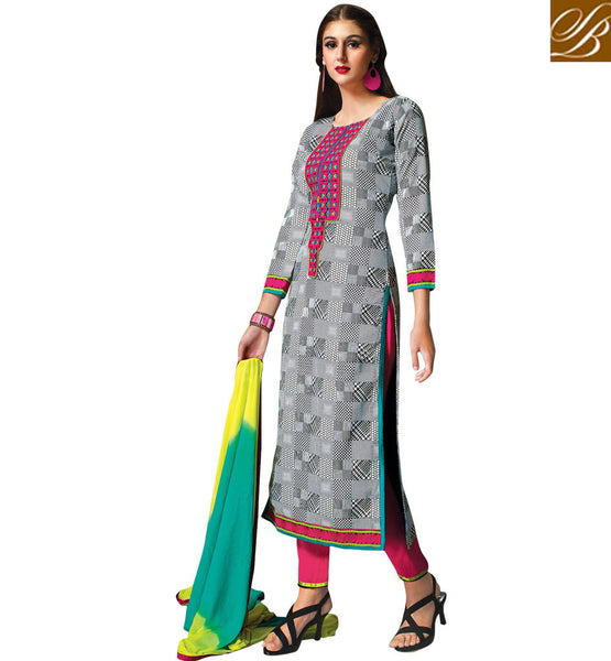 NEW-PAKISTANI-FASHION-WEARS-OUTFITS-COLLECTION-OF-SHALWAR-KAMEEZ-DESIGNER-SUITS-FOR-GIRL--GLAMOROUS-GREY-COTTON-TOP-WITH-PINK-SALWAR-AND-SHADED-CHIFFON-DUPATTA