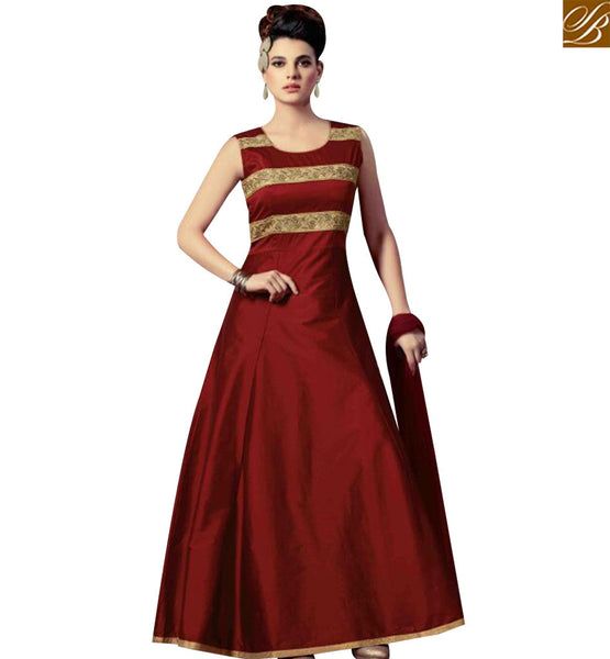 STYLISH BAZAAR AMAZING MAROON SILK DESIGNER ANARKALI SALWAR KAMEEZ WITH GLAMOROUS LOOK SLMKT1004