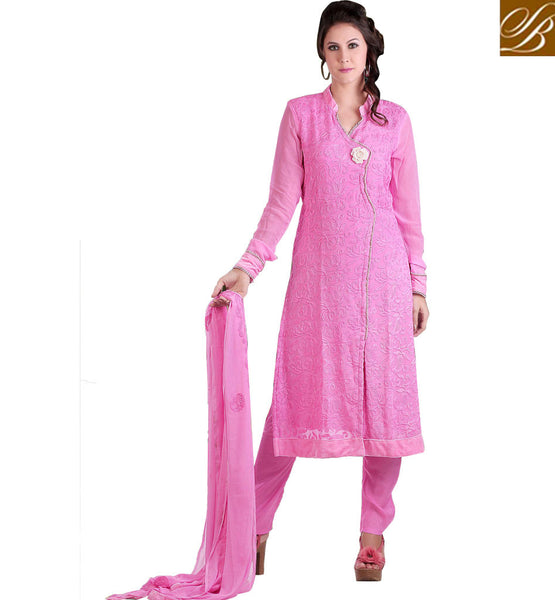 PINK PURE GEORGETTE PARTY WEAR SALWAR KAMEEZ MATERIAL WITH DUPATTA CF7W1004 STYLISHBAZAAR COSMOS 7 WONDERS FASHINS COLLECTION