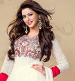 AAMNA SHARIF OFF WHITE GEORGETTE DRESS WITH CHIFFON DUPATTA. Kalidar Salwar Kameez Pattern 2015. Express yourself beautifully with this exciting outfit. Embroidery