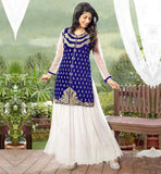 AISHWARYA SAKHUJA OFF-WHITE AND BLUE LEHENGA CHOLI STYLE GOWN