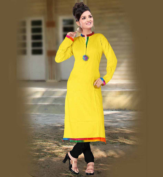 SIMPLE SOBER CHINESE COLLAR FULL SLEEVES COTTON LONG KURTI SHOPPING