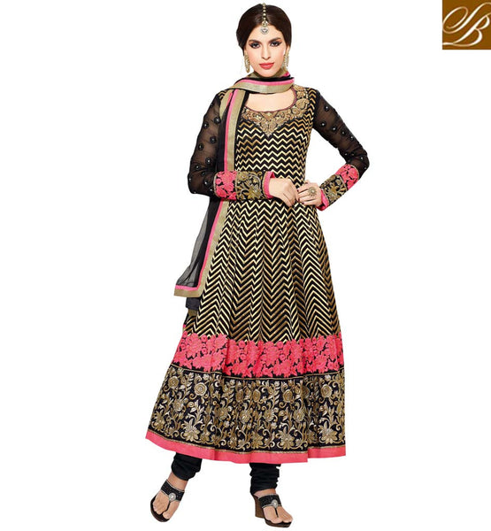 IRRESISTIBLE BLACK GEORGETTE ANARKALI RTZO1004 - STYLISHBAZAAR - online shopping for anarkali suits, online shopping for anarkali dress, online shopping of anarkali suits, online shopping anarkali dress, online shopping of anarkali dress