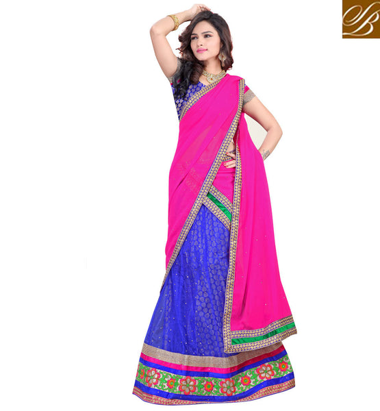 DESIGNER LEHENGA CHOLI ONLINE SHOPPING INDIAN DESIGNER WEAR BLUE NET LEHENGA WITH JACQUARD CHOLI AND PINK CHIFFON HALF-SAREE