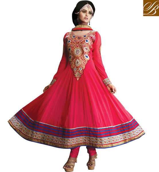 PINK OCCASION WEAR ANARKALI WITH CHIFFON DUPATTA STYLISHBAZAAR ONLINE SHOPPING WEBSITE