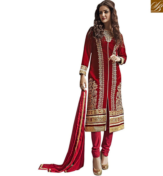 UNIQUELY DESIGNED MIDDLE SLIT EMBROIDERED PUNJABI SUIT VDKAS1004 BY COLOR IS RED