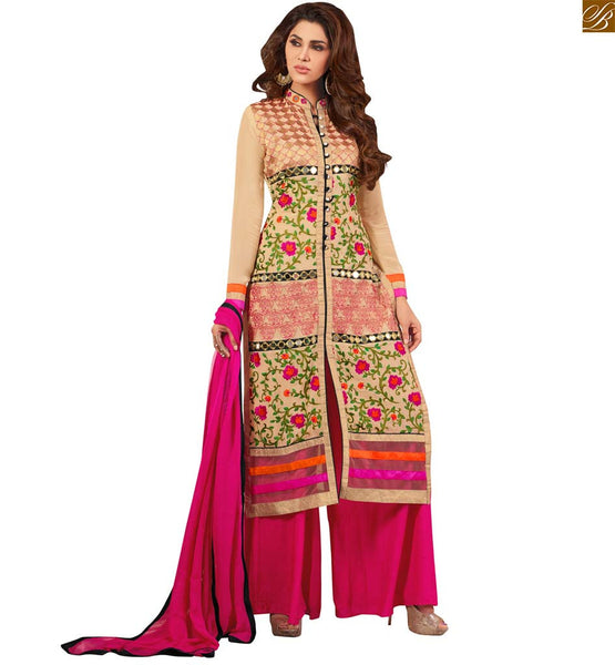 Photo of Collar neck designs for salwar kameez suits online shopping cream faux-georgette dress on copper zari patch work at middle line on top with pink santoon bottom