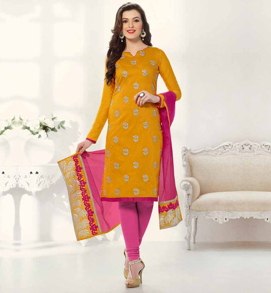 DESIGNS OF SIMPLE SALWAR KAMEEZ FOR MODERN LADY FLORAL EMBROIDERY WORK CHANDERI JACQUARD KAMEEZ