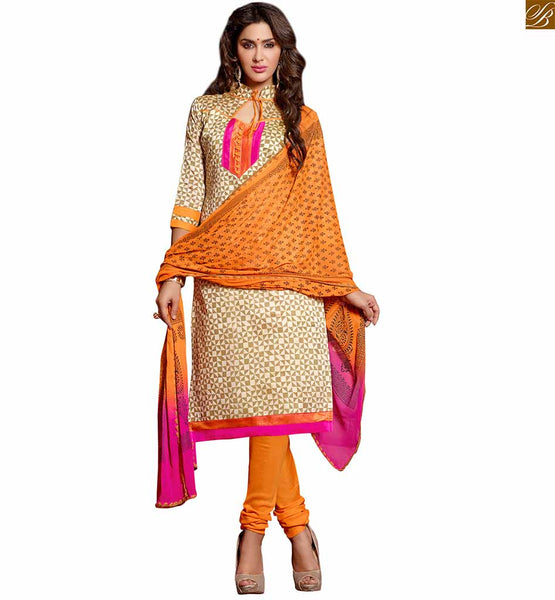 Kameez shalwar latest designer suits 2015 for daily dress up beige chanderi-cotton abstract printed dress with patch work on neck line and orange cotton bottom Image