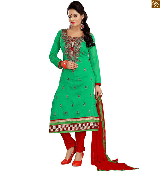 Latest pakistani dresses salwar kameez 2015 best suit design green cotton dress with heavy embroidery work on neck side and piping on neck line looking awesome Image