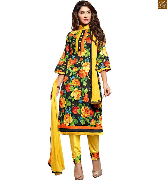 New salwar designs of current fashion trend simple punjabi suit black bhagalpuri-silk different cut three fourth sleeves dress with patch work and yellow cotton bottom Image