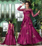 ANARKALI DRESS 2015 HOLLYWOOD STYLE FROCK LOOK DARK PINK (RANI) COLOR SOFT NET AND JAPAN SILK DRESS WITH DUPATTA