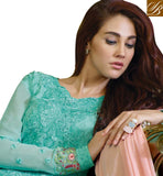 INCREDIBLE ZARIWORK, RESHAM EMBROIDERY, STONEWORK AND LACE BORDER DESIGN PARTY WEAR STRAIGHT DRESS SKY-BLUE GEORGETTE SUIT WITH MATCHING SANTOON SALWAR AND CREAM CHIFFON ODHNI