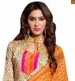Indian casual wear kameez shalwar latest designer suits 2015 for daily dress up for women beige chanderi-cotton abstract printed dress with patch work on neck line and orange cotton bottom Photo