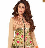 Image of New look chinese collar neck designs for salwar kameez suits online shopping for young generation cream faux-georgette dress on copper zari patch work at middle line on top with pink santoon bottom