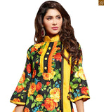 New salwar designs of current fashion trend simple punjabi suit for indian day to day wear black bhagalpuri-silk different cut three fourth sleeves dress with patch work and yellow cotton bottom Photo