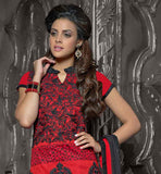 RED CHANDERI COTTON TOP WITH BLACK SANTOON BOTTOM AND RED NAZNEEN ODHNI THIS EXCITING DRESS HAS CONTRAST BLACK COLOR THREAD WORK AGAINST RED BACKGROUND