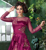 DARK PINK (RANI) COLOR SOFT NET AND JAPAN SILK DRESS WITH DUPATTA ZARI WORK AND RESHAM EMBROIDERY BUTT WORK DRESS WITH SANTOON BOTTOM AND CHIFFON ODHNI