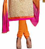 Beige chanderi-cotton abstract printed dress with patch work on neck line and orange cotton bottom Pic