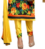 Black bhagalpuri-silk different cut three fourth sleeves dress with patch work and yellow cotton bottom Pic