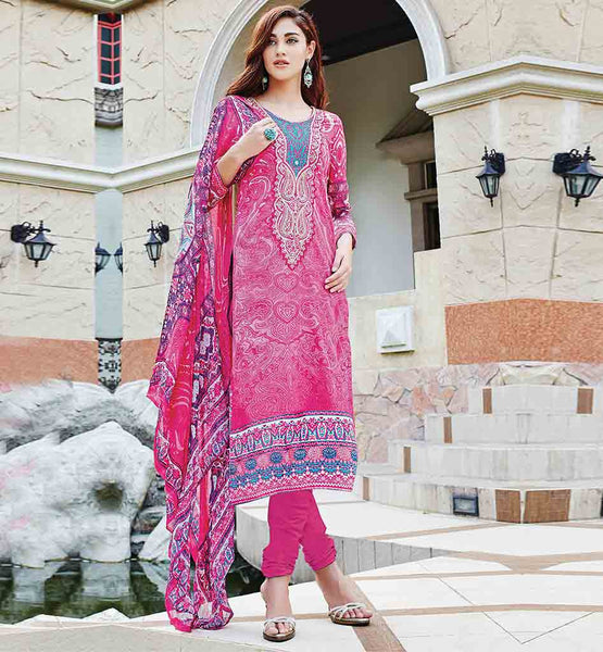 BUY PURE COTTON SALWAR SUIT ONLINE BELOW 2000 AWESOME PINK PURE COTTON DRESS WITH MATCHING SALWAR AND DUPATTA