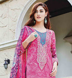 AWESOME PINK PURE COTTON DRESS WITH MATCHING SALWAR AND DUPATTA FULL PRINTED DRESS AND DUPATTA WITH EMBROIDERED NECKLINE AND PLAIN SALWAR