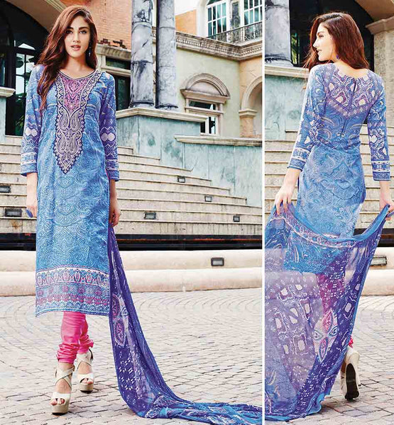 PURE COTTON SALWAR KAMEEZ ONLINE SHOPPING INDIA EYE-CATCHING BLUE KAMEEZ WITH PINK POLY COTTON SALWAR AND PURE BAMBERG DUPATTA