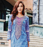 EYE-CATCHING BLUE KAMEEZ WITH PINK POLY COTTON SALWAR AND PURE BAMBERG DUPATTA EXTENDED EMBROIDERED NECKLINE UPTO THE WAIST