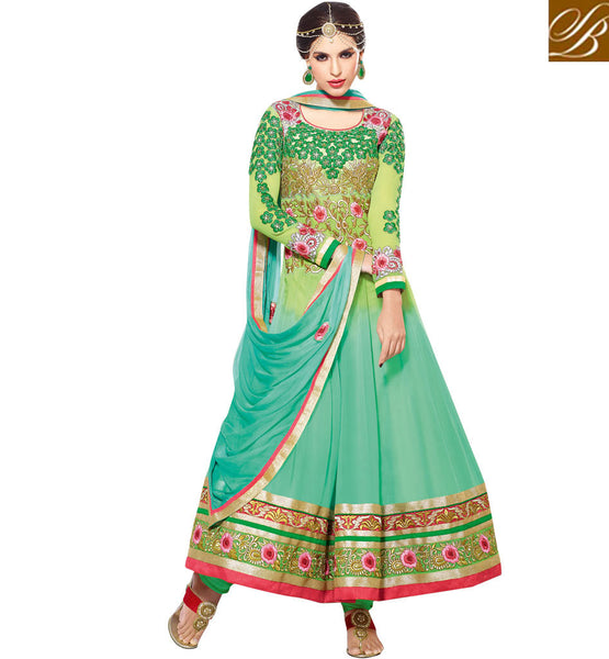 GLAMOROUS GREEN GEORGETTE ANARKALI RTZO1005 - STYLISHBAZAAR - buy Anarkali Dress online, anarkali dress online shopping in india, buy anarkali suits online, anarkali dress designs, latest designer anarkali suits