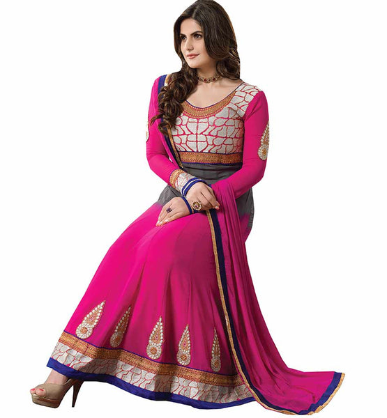 PLEASING PINK COLOR ZAREEN KHAN ANARKALI SUIT RTZA1005 - stylishbazaar - Zarine Khan, Zareen Khan, Bollywood Salwar Kameez, Bollywood Anarkali Suits, Salwar Kameez buy online, Indian Salwar suits buy online, Salwar Kameez buy online, Indian Salwar Kameez online, Anarkali designs , buy Salwar Kameez