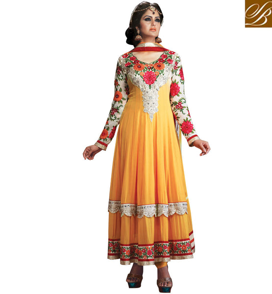 ORANGE OCCASION WEAR ANARKALI WITH CHIFFON DUPATTA STYLISHBAZAAR ONLINE SHOPPING WEBSITE