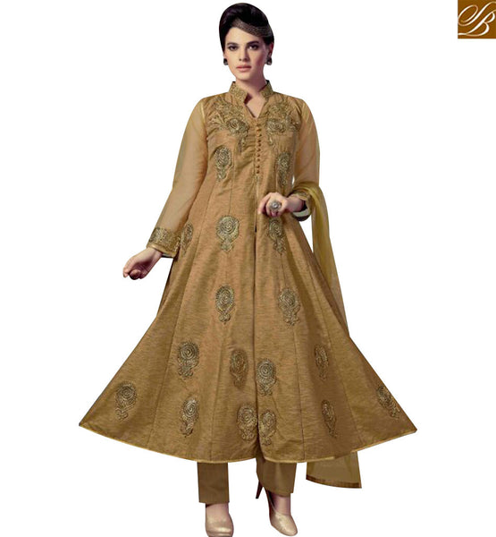 STYLISH BAZAAR ELEGANT BEIGE SILK DESIGNER ANARKALI SALWAR KAMEEZ HAVING BUTTA WORK WITH HYNECK STYLE SLMKT1005