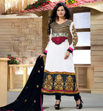 STRIKING OFF-WHITE GEORGETTE ANARKALI WITH DUPATTA