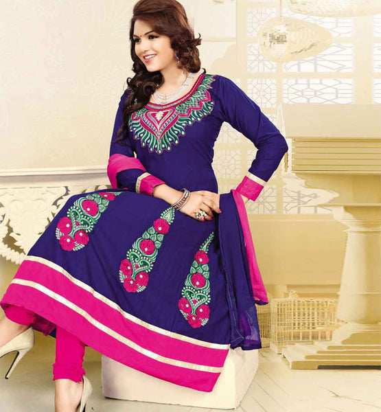 COTTON BLUE ANARKALI DRESS RTSMY1005