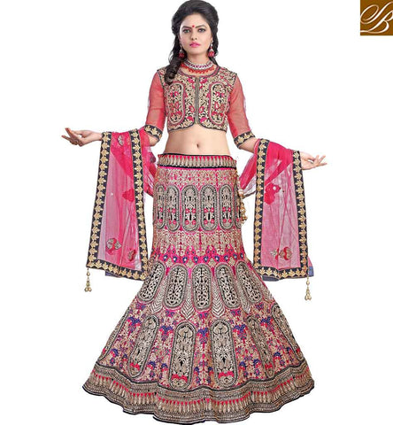 STYLISH BAZAAR PRESENTATION TANTALIZING BRIDAL WEAR GHAGHRA CHOLI DESIGN MCU11005