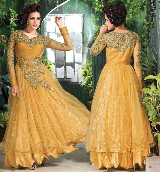 ANARKALI DRESSES INSPIRED BY  IMPERIAL GOWN STYLE MAJESTIC BROWN GOWN STYLE DRESS CREATED FROM COMBINATION OF SOFT NET AND RASSAL NET FABRIC