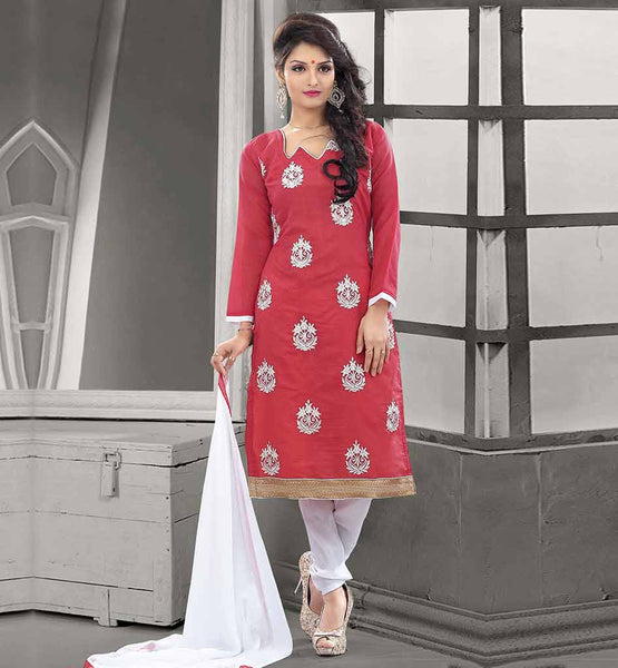 BEAUTIFUL DRESSES NEW PATTERN OF LONG FROCKS CHANDERI COTTON DUSTY PINK STRAIGHT CUT SUIT WITH OFF WHITE SALWAR AND CHIFFON DUPATTA