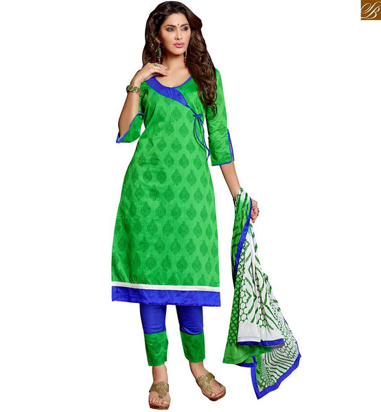 Karachi churidar type salwar kameez dress casual suit for girls green chanderi-cotton different style neck designer dress with dori and double colored green and blue cotton bottom Image