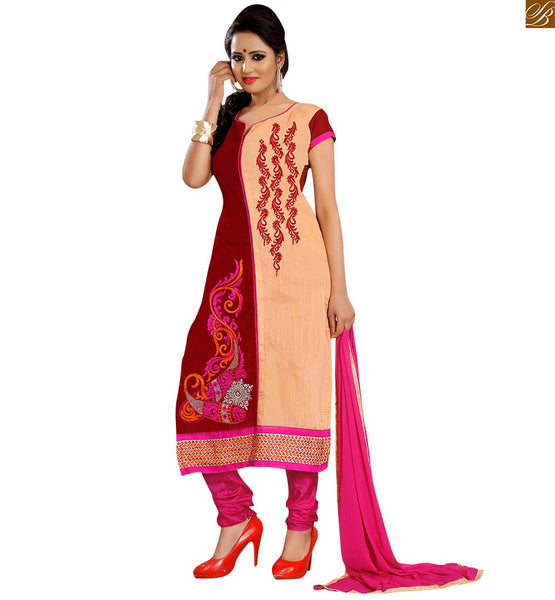 Punjabi style suits latest designs of simple salwar kameez 2015 cream and maroon cotton half and half type floral embroidered dress with pink churidar bottom Image