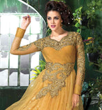 MAJESTIC BROWN GOWN STYLE DRESS CREATED FROM COMBINATION OF SOFT NET AND RASSAL NET FABRIC LOVELY EMBROIDERY WORK ON NECK, BLACK, SLEEVES AND WAIST LINE, COMES WITH SANTOON SALWAR AND CHIFFON DUPATTA
