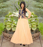 AISHWARYA SAKHUJA IN PEACH KOTI STYLE NET FABRIC GOWN