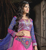 PINK COLOR SOFT NET BEAUTIFUL FLORAL EMBROIDERY WORK LEHENGA CHOLI