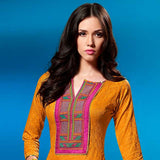 PLEASING ORANGE SELF PRINTED AND EMBROIDRED SALWAR SUIT WITH DUPATTA